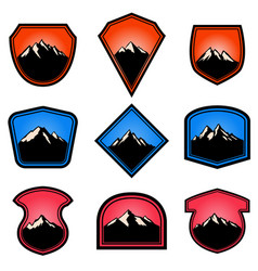set empty badges with mountains design vector image