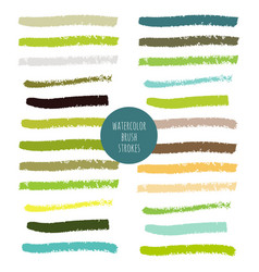 set green hand painted watercolor stripes vector image