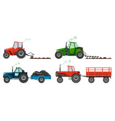 Set if farm tractors cultivates land or vector