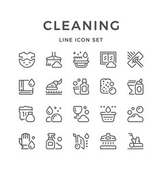 Set line icons of cleaning vector