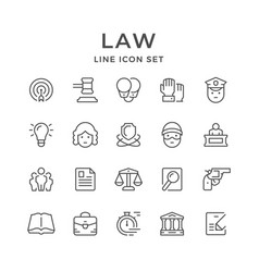 set line icons of law vector image