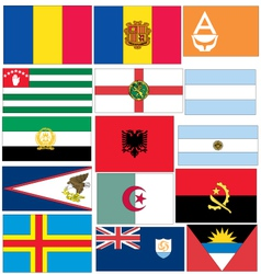 Set of 15 flags of countries started vector