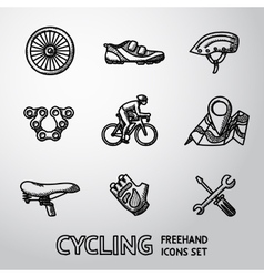 Set of Cycling freehand icons - wheel shoe vector image