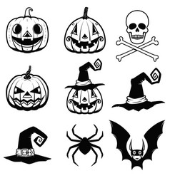 Set of halloween icons halloween pumpkin bats vector
