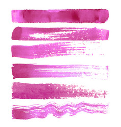 set of pink brush strokes vector image