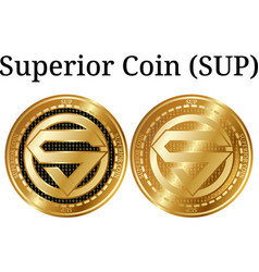 Set physical golden coin superior coin sup vector