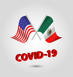 Set two waving crossed flags usa and mexico vector