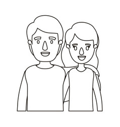 Silhouette caricature half body couple woman with vector