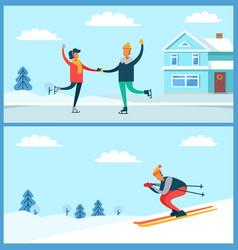 Skating couple and skier set vector