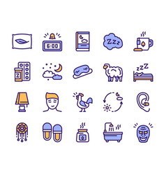 sleep and insomnia color linear icons set vector image