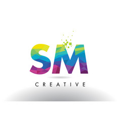 Sm s m colorful letter origami triangles design vector