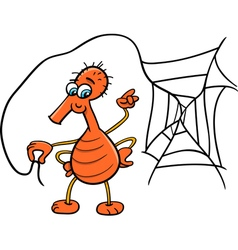 Spider with web cartoon vector