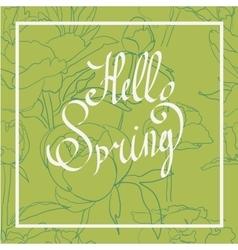 Spring word flowers vector