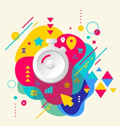 Stopwatch on abstract colorful spotted background vector image