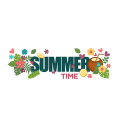 Summertime poster with bright flowers palm leaves vector