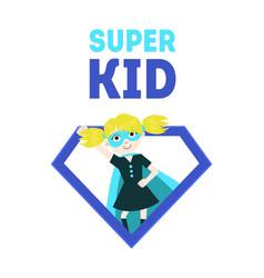 Super kid banner cute girl in superhero costume vector