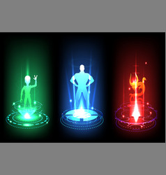 Teleportation stage with aliens holograms vector