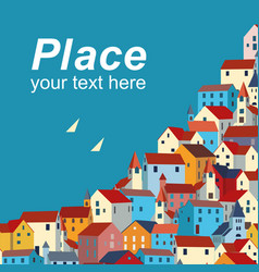 template with sea colorful houses and sample text vector image