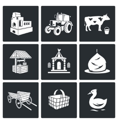 The village life Icons Set vector