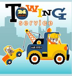 Tow truck cartoon towing a little car vector