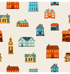 Town seamless pattern with cute colorful houses vector
