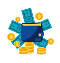 Wallet and money vector