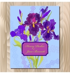 Wedding background card with purple iris flower vector image