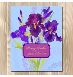 Wedding background card with purple iris flower vector image