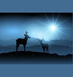 Winter background with deer vector