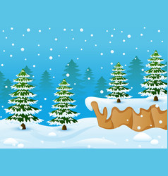winter landscape with snowy ground and fir trees vector image