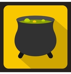 Witch cauldron with green potion icon flat style vector