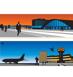 Air terminal and railway station vector