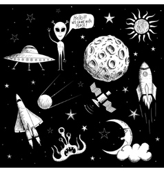 Collection of space objects vector image vector image