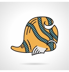 Flat design icon for yellow coralfish vector image