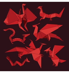 origami dragons vector image vector image