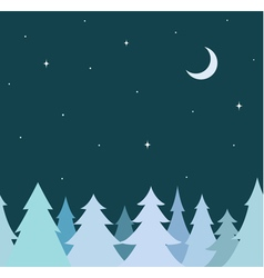 seamless border from blue tree and night sky vector image vector image