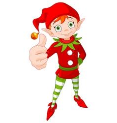 Thumb Up Christmas Elf vector image vector image
