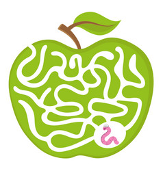 maze game for kids worm apple labyrint puzzle vector image
