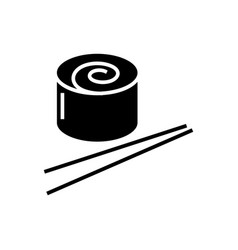 sushi roll icon black sign vector image