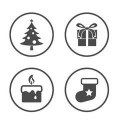 winter season and christmas new year icons set vector image
