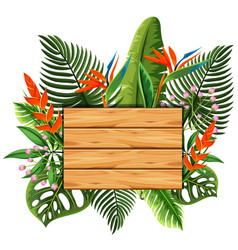 wooden board with leaves and flowers in background vector image