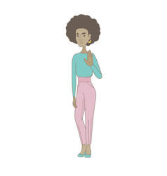 Young african hippie woman showing palm hand vector
