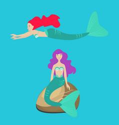 two mermaids or sirens in the ocean flat vector image vector image