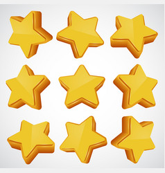 golden star different angles vector image