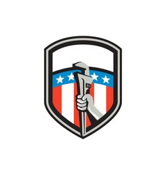 Plumber Hand Pipe Wrench USA Flag Shield Retro vector image vector image