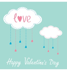Two clouds with hanging rain drops Valentines Day vector image vector image