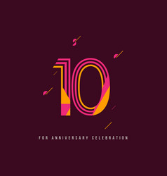 10 year retro anniversary celebration template vector