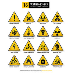 16 triangle warning signs vector image