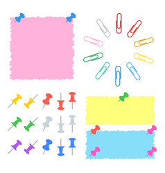 a set of color office stickers buttons and clips vector image