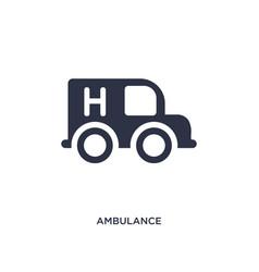 Ambulance facing left icon on white background vector